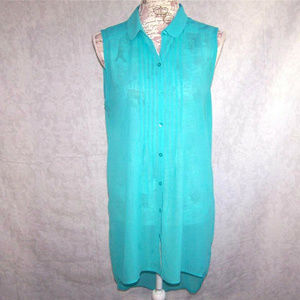 14th & Union Tunic Top M High Low Sleeveless Sheer